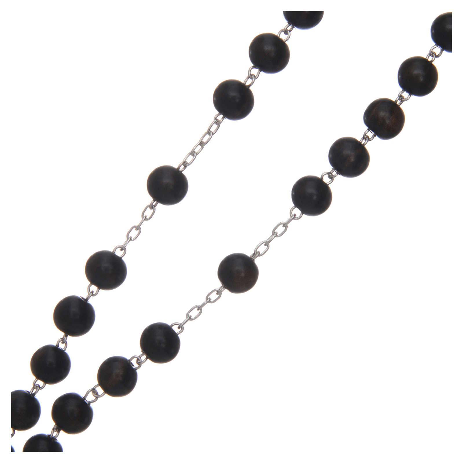 Rosario in ebano 8 mm e argento 925 4