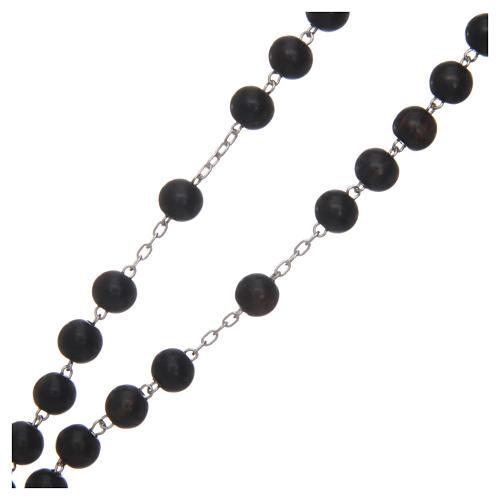 Rosario in ebano 8 mm e argento 925 3