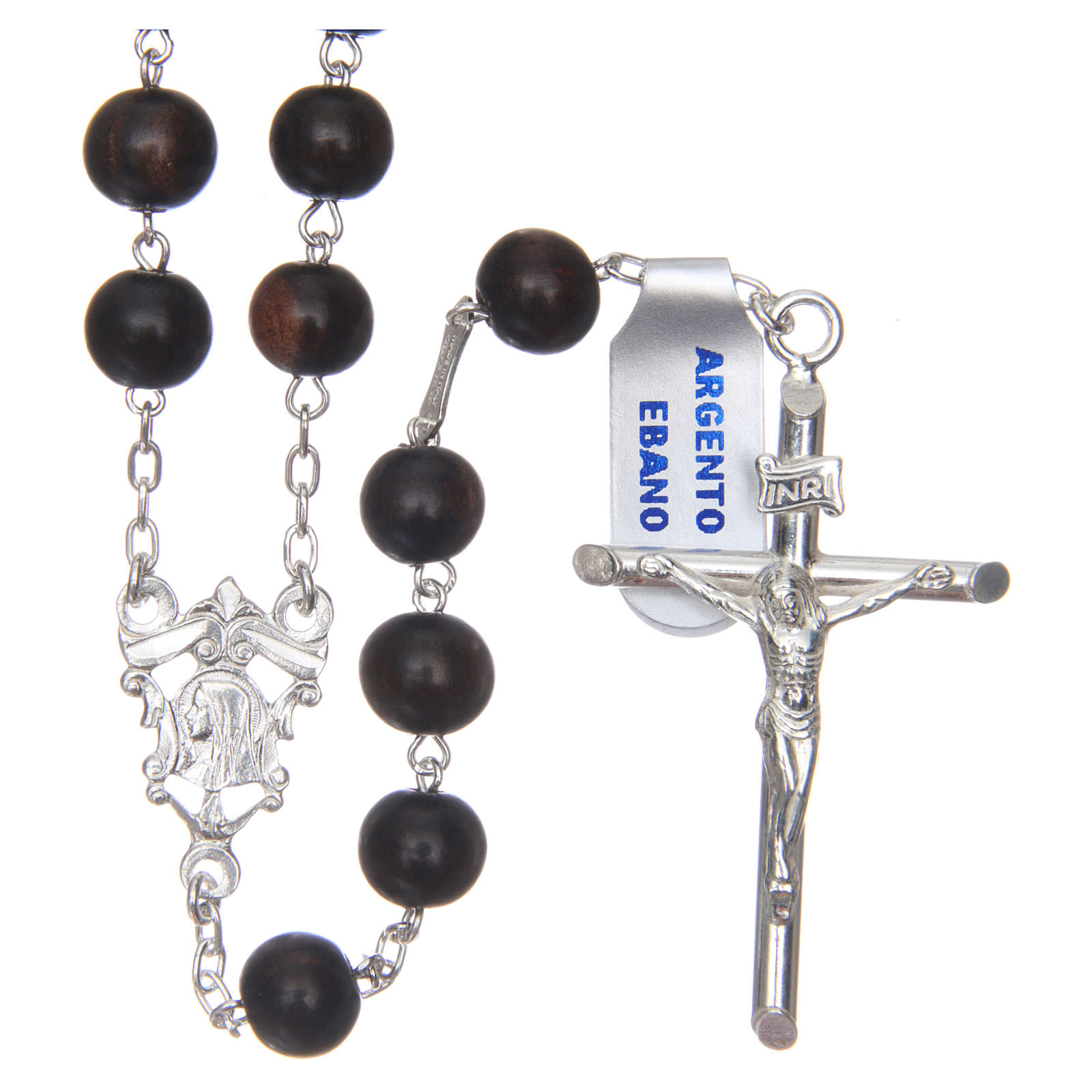 Rosary in 925 sterling silver and ebony 8 mm 4