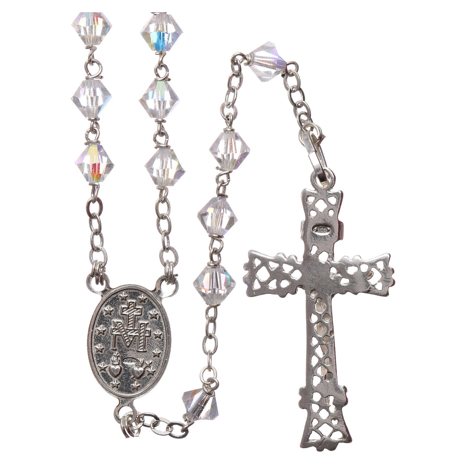 Silver rosary with iridescent Swarovski crystals 4