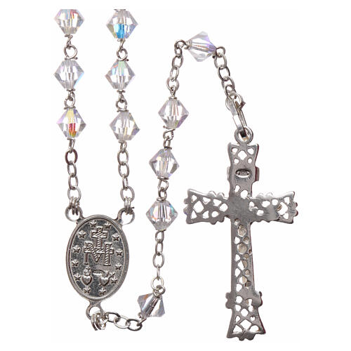 Silver rosary with iridescent Swarovski crystals 2