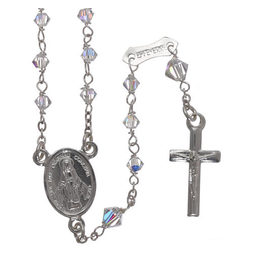 Rosary in 800 silver with transparent Swarovski crystals 1