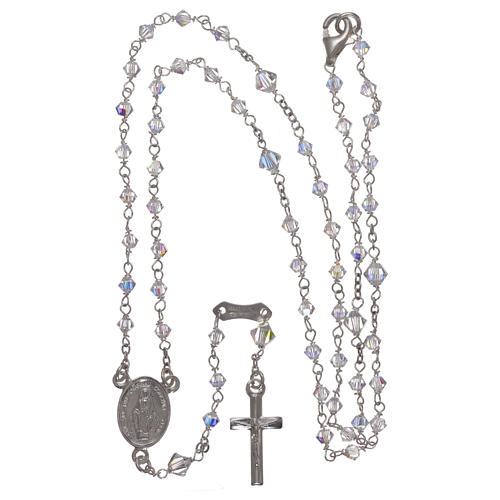 Rosary in 800 silver with transparent Swarovski crystals 4