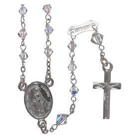 Rosary of 800 silver with transparent Swarovski crystals s1