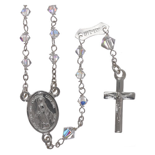 Rosary of 800 silver with transparent Swarovski crystals 1