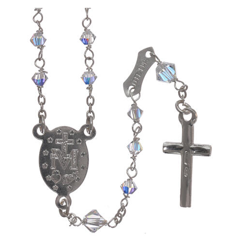Rosary of 800 silver with transparent Swarovski crystals 2