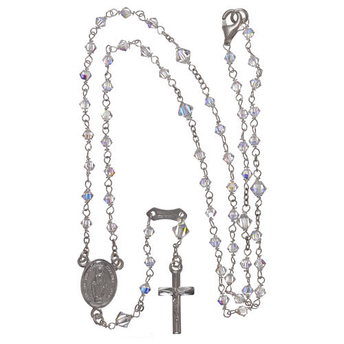 Rosary of 800 silver with transparent Swarovski crystals 4