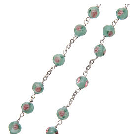 Glass rosary with roses and 925 silver chain s3