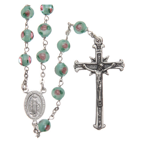 Glass rosary with roses and 925 silver chain 1