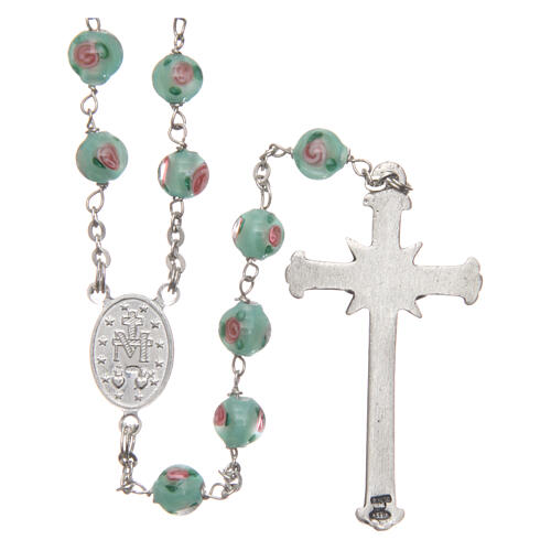 Glass rosary with roses and 925 silver chain 2