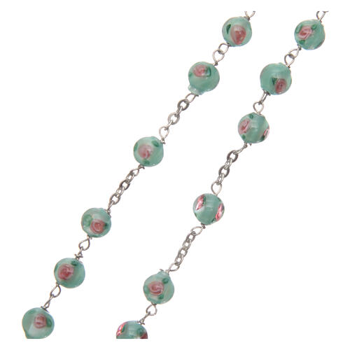 Glass rosary with roses and 925 silver chain 3