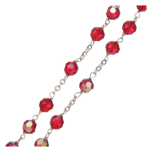 Crystal rosary red faceted beads 6 mm 925 silver 3