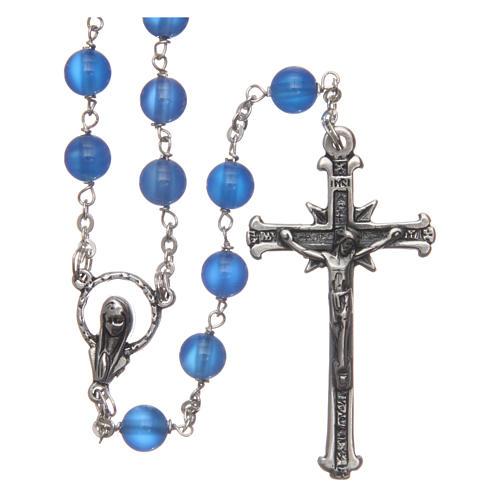 Chapelet agathe bleue 6 mm chaîne argent 925 1