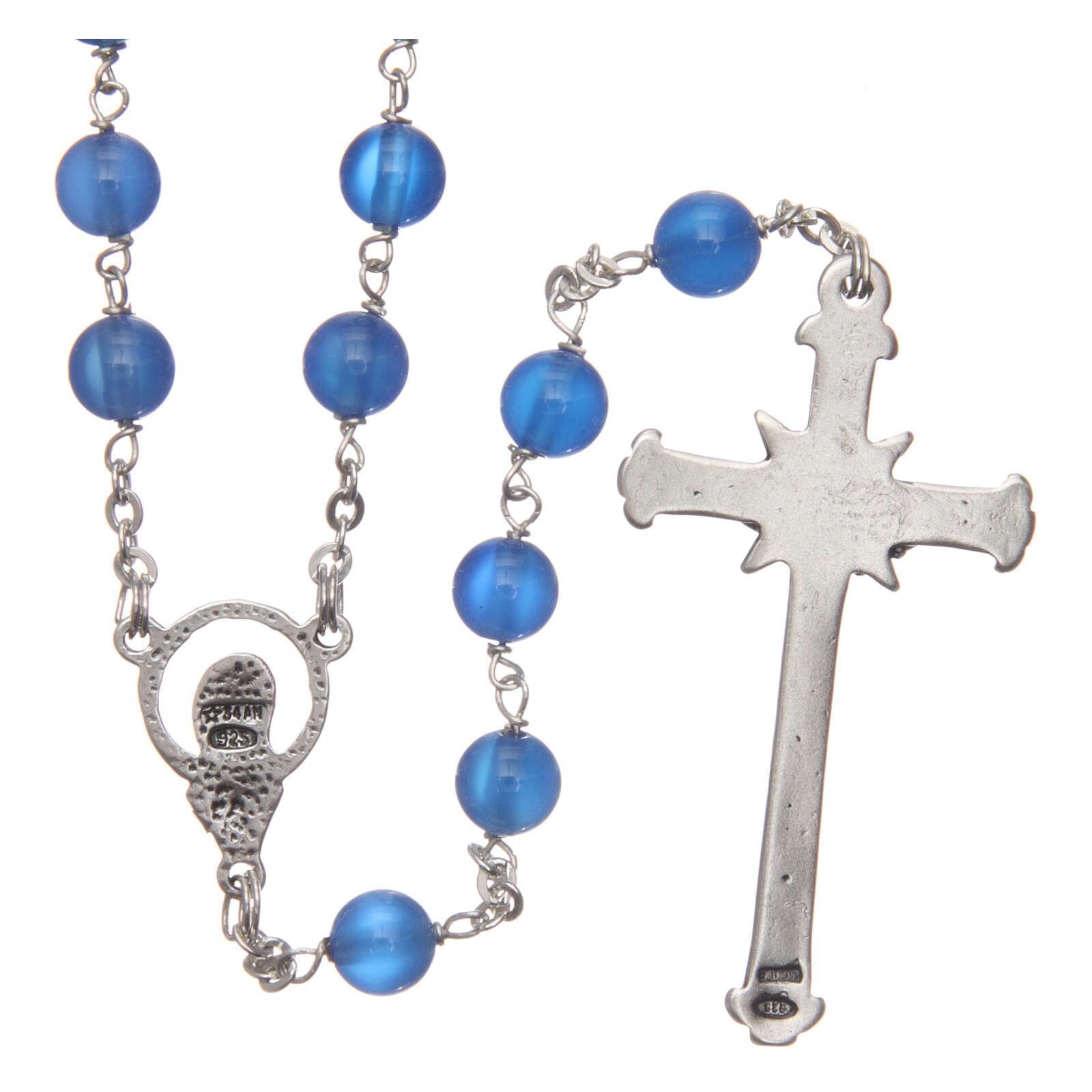 Rosary bleu agate 6 mm 925 silver chain 4