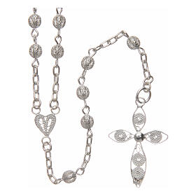 Filigree rosary round beads 4 mm 925 silver s1
