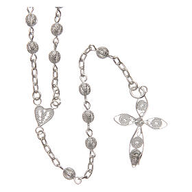 Filigree rosary round beads 4 mm 925 silver s2