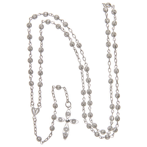 Filigree rosary round beads 4 mm 925 silver 4
