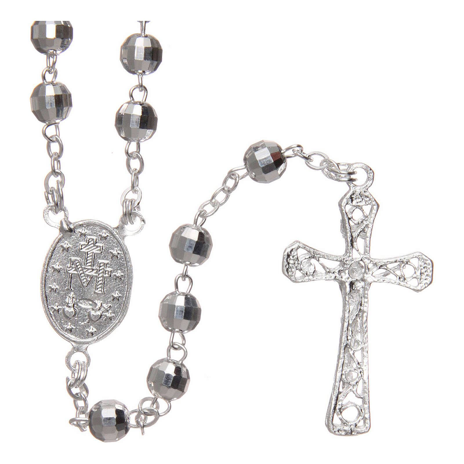 Silver rosary faceted beads 5 mm 4