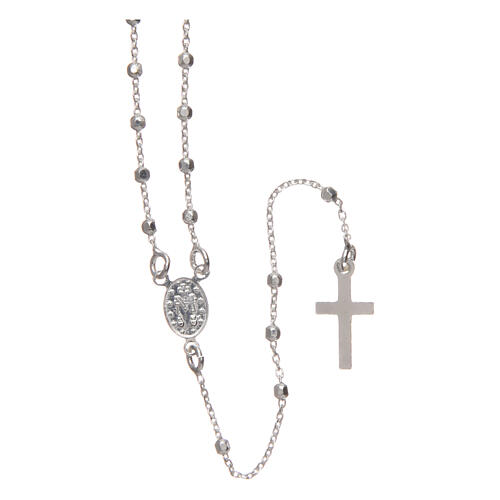 Rosary with round faceted beads 2 mm 925 silver 2