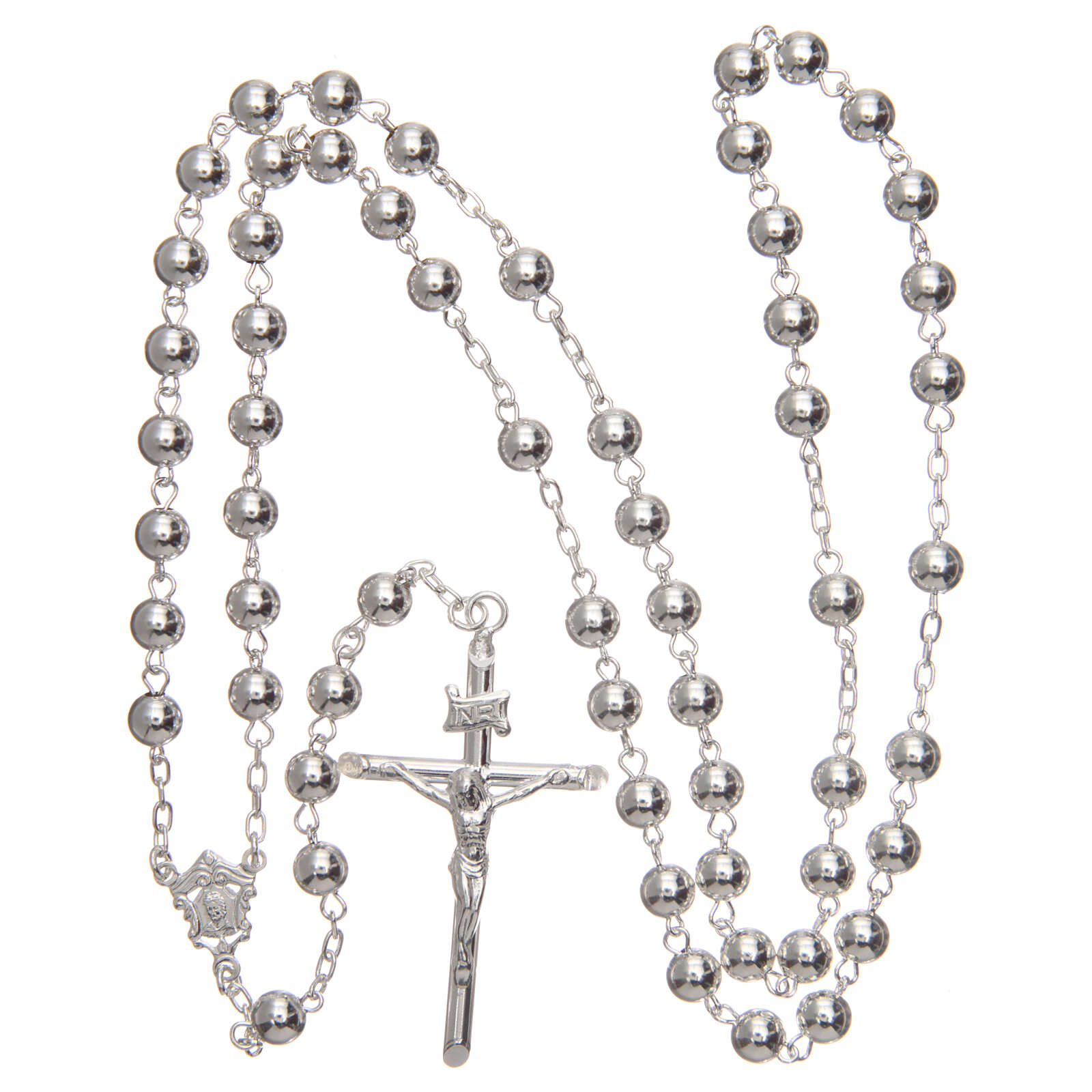 Rosary 925 silver round beads 6 mm 4