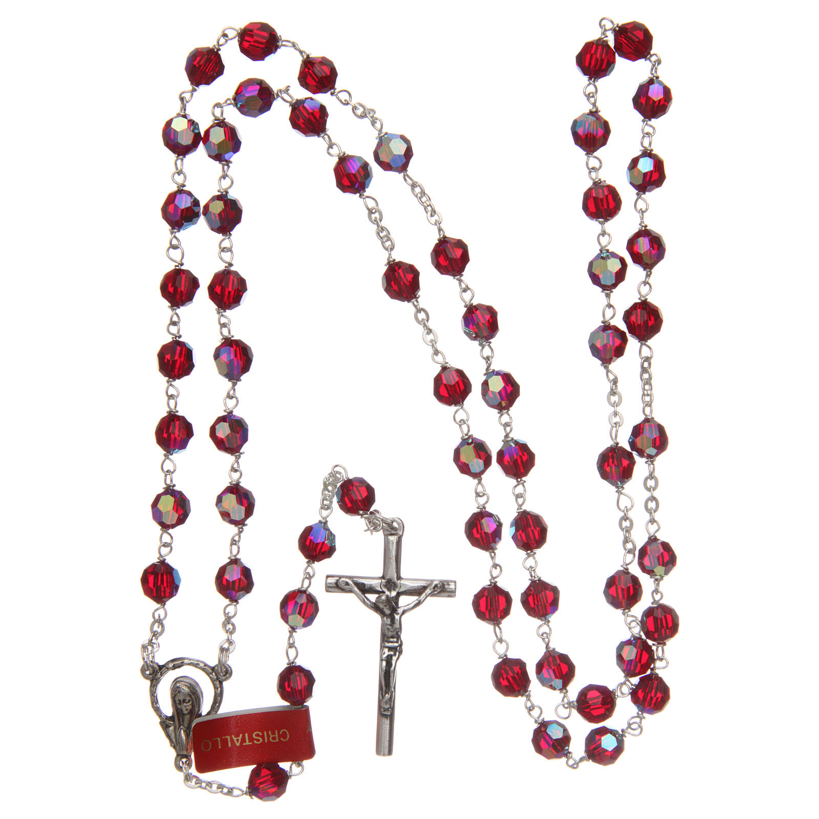 Rosary in garnet-coloured glass with thread in 925 silver diameter 6 mm 4