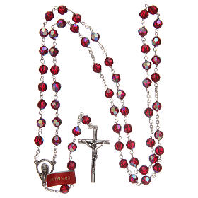 Rosary in garnet-coloured glass with thread in 925 silver diameter 6 mm s4
