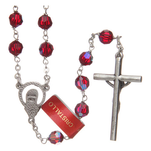 Rosary in garnet-coloured glass with thread in 925 silver diameter 6 mm 2