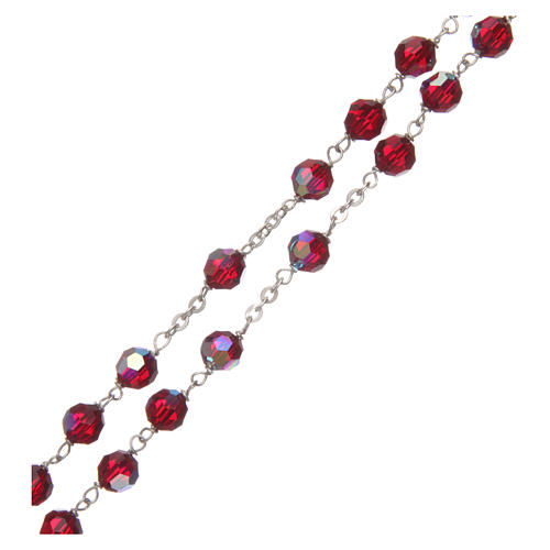 Rosary in garnet-coloured glass with thread in 925 silver diameter 6 mm 3