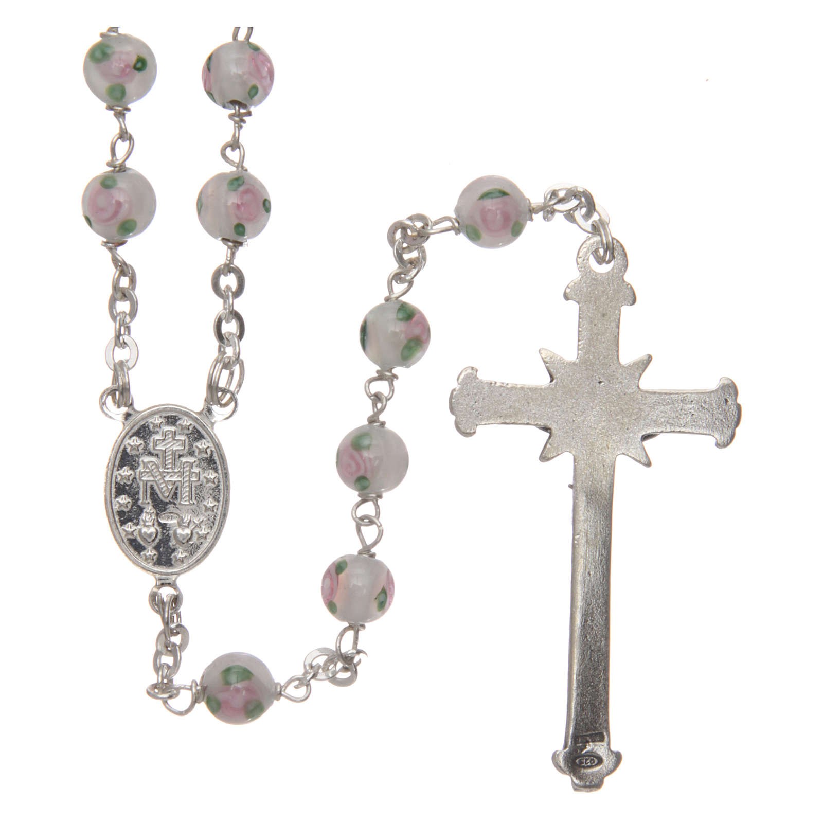 Rosary in decorated glass with thread in 925 silver diameter 6 mm 4