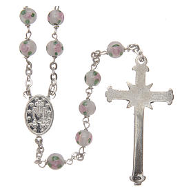 Rosary in decorated glass with thread in 925 silver diameter 6 mm s2