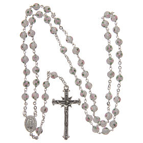 Rosary in decorated glass with thread in 925 silver diameter 6 mm s4