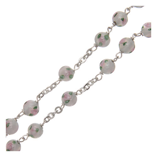 Rosary in decorated glass with thread in 925 silver diameter 6 mm 3
