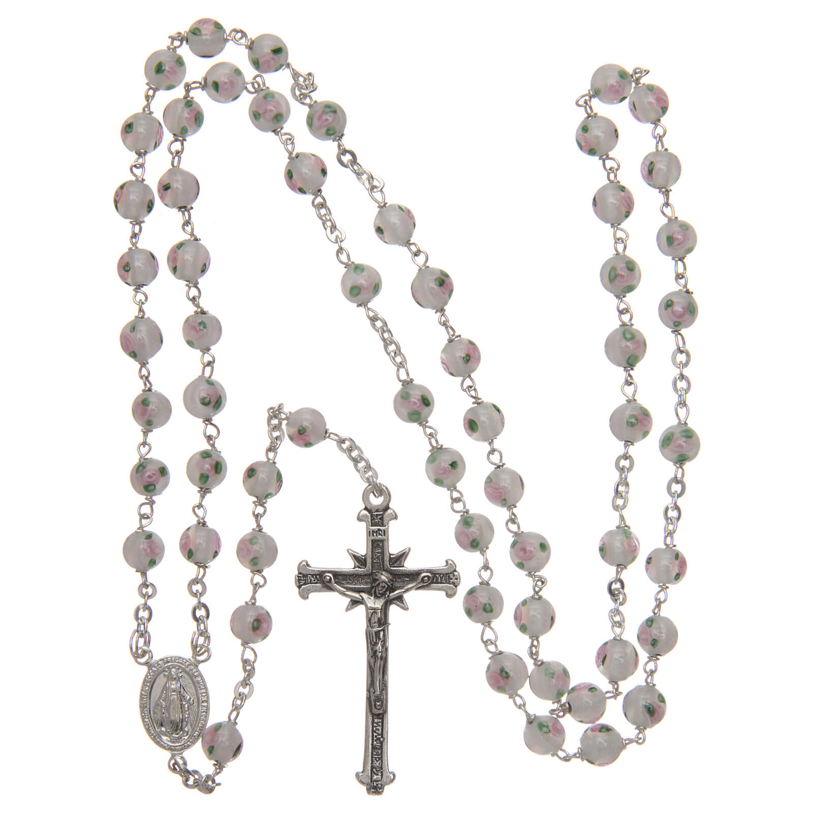 Glass rosary with decorated beads 6 mm and 925 silver 4