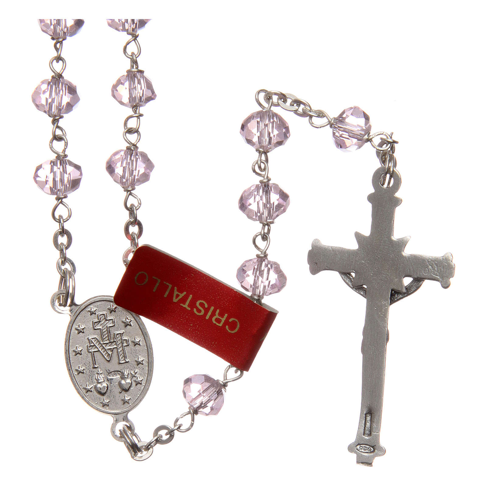Rosary in pink crystal and 925 silver, 6 mm beads 4