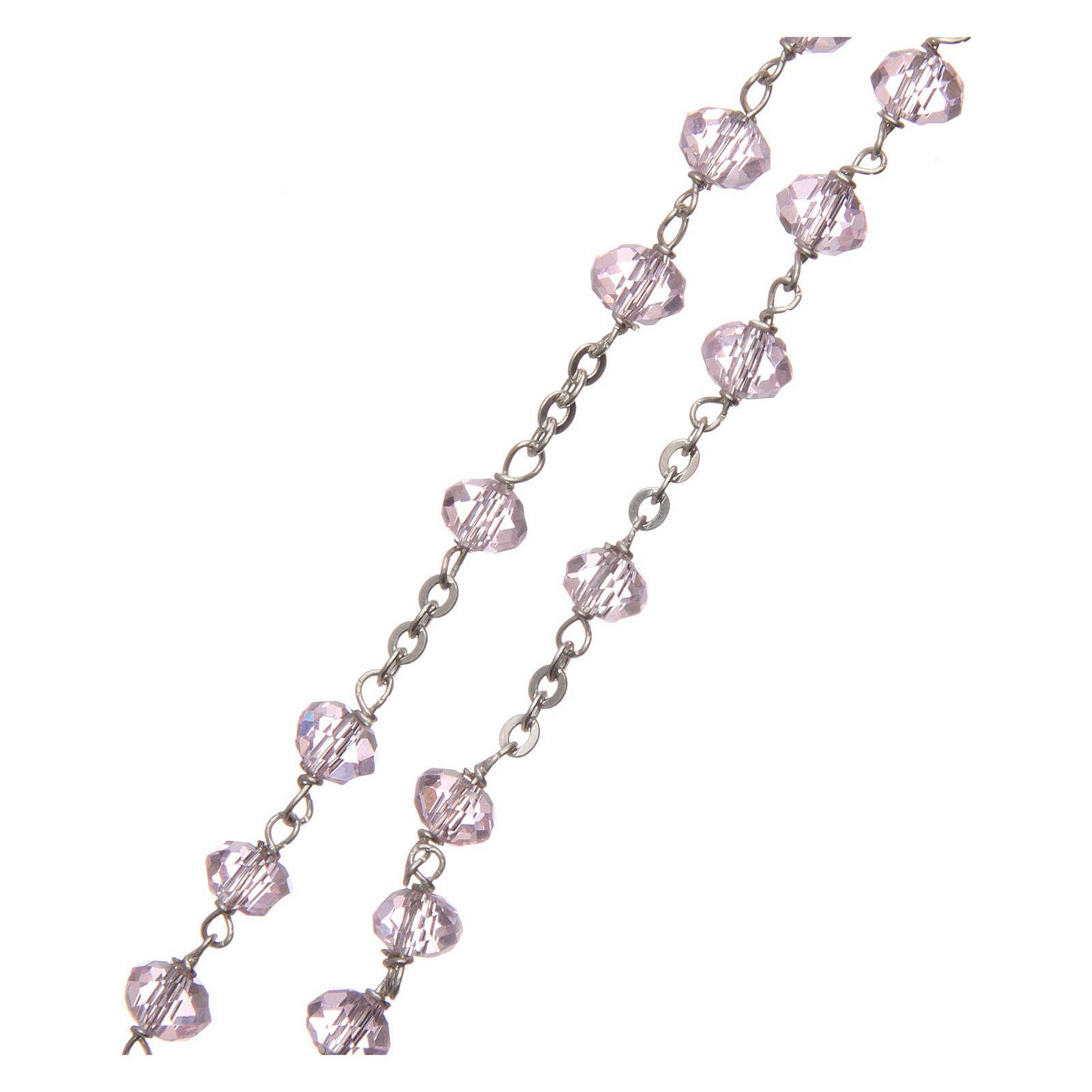 Chapelet cristal rose 6 mm chaîne argent 925 4