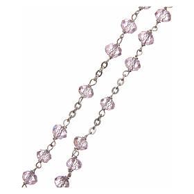 Terço cristal cor-de-rosa 6 mm corrente prata 925 s3