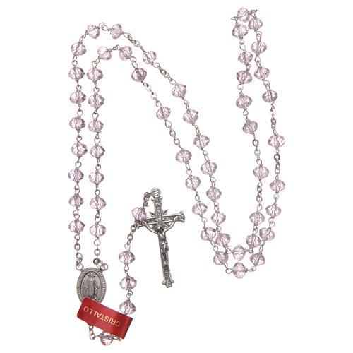Terço cristal cor-de-rosa 6 mm corrente prata 925 4