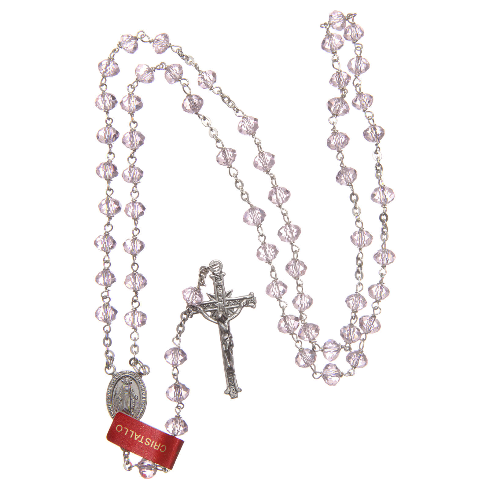 Crystal rosary pink beads 6 mm 925 silver chain 4