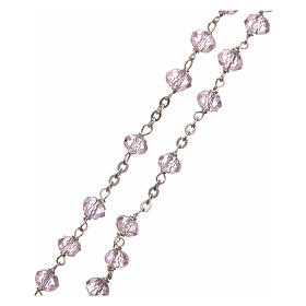 Crystal rosary pink beads 6 mm 925 silver chain s3