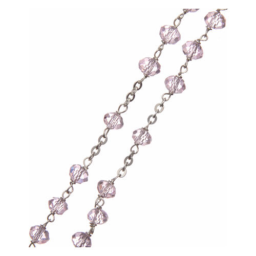 Crystal rosary pink beads 6 mm 925 silver chain 3
