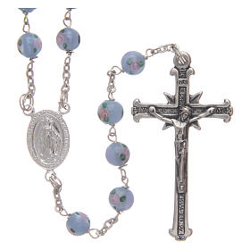 Rosary in light-blue glass with roses and 925 silver 6 mm s1