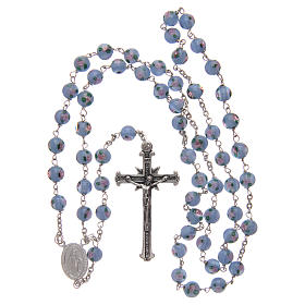 Rosary in light-blue glass with roses and 925 silver 6 mm s4