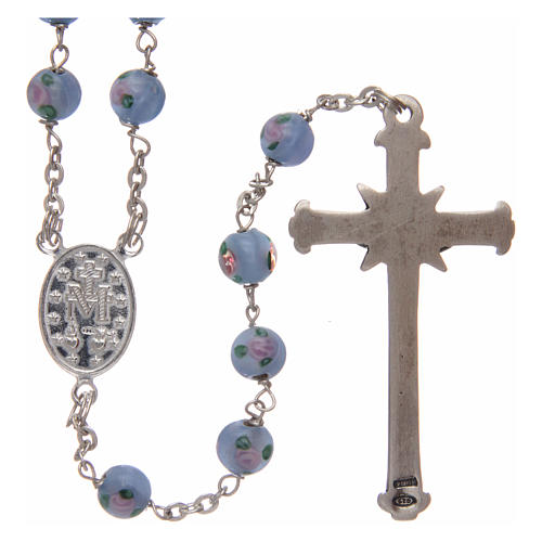 Rosary in light-blue glass with roses and 925 silver 6 mm 2