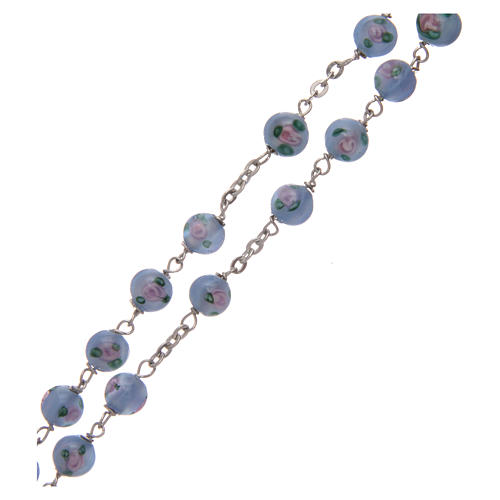 Rosary in light-blue glass with roses and 925 silver 6 mm 3