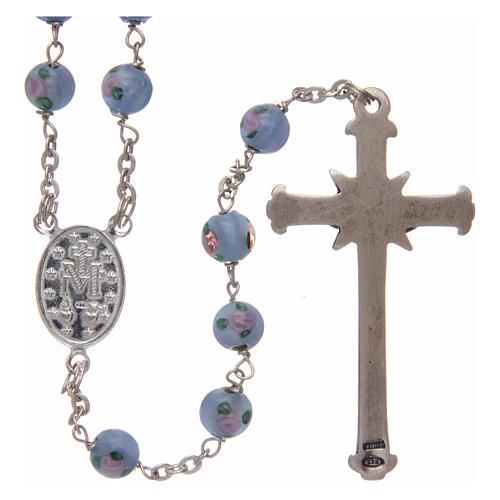 Rosario vidrio azul con rosas y plata 925 diámetro 6 mm 2