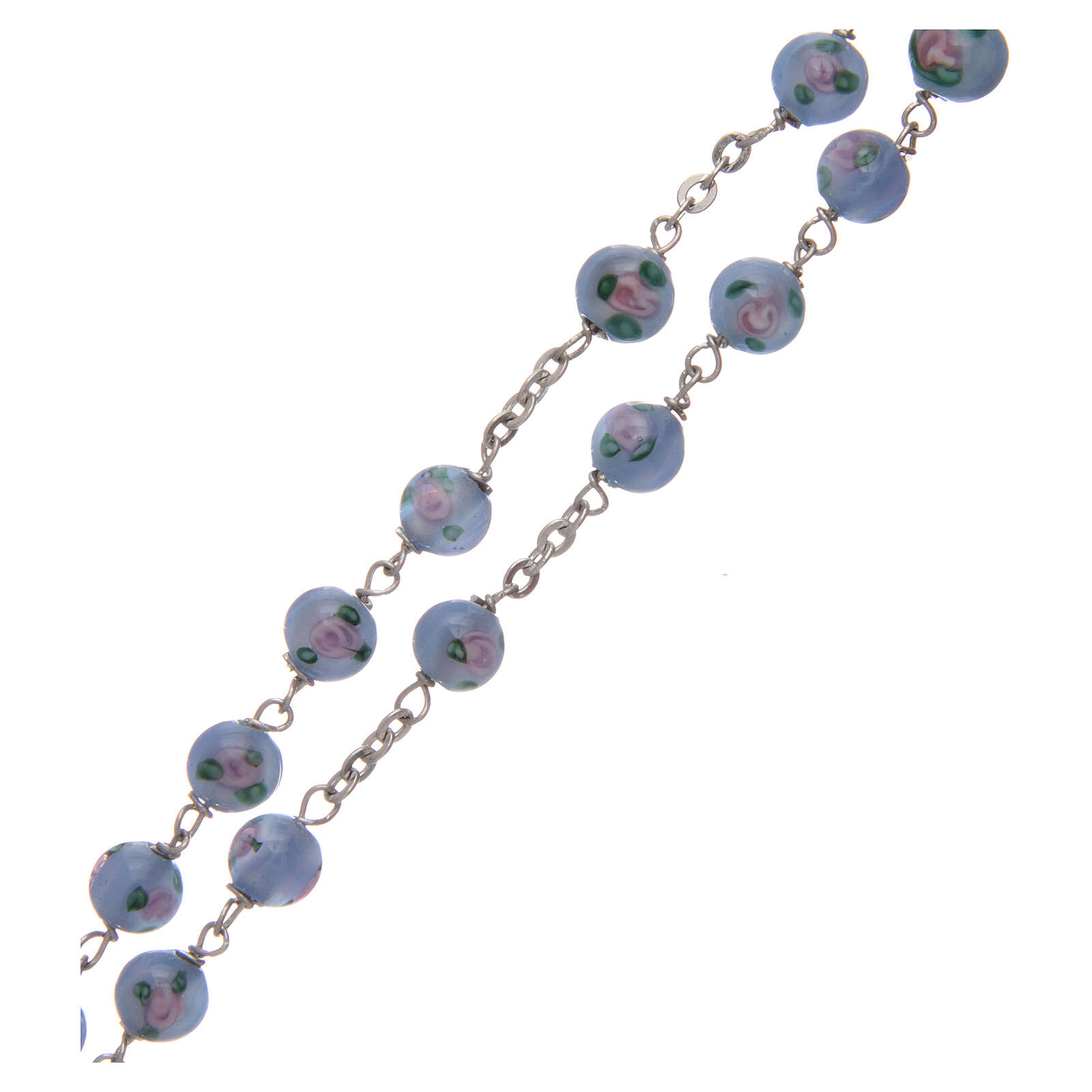 Glass rosary light blue beads with roses 6 mm and 925 silver 4