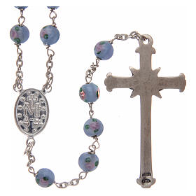 Glass rosary light blue beads with roses 6 mm and 925 silver s2