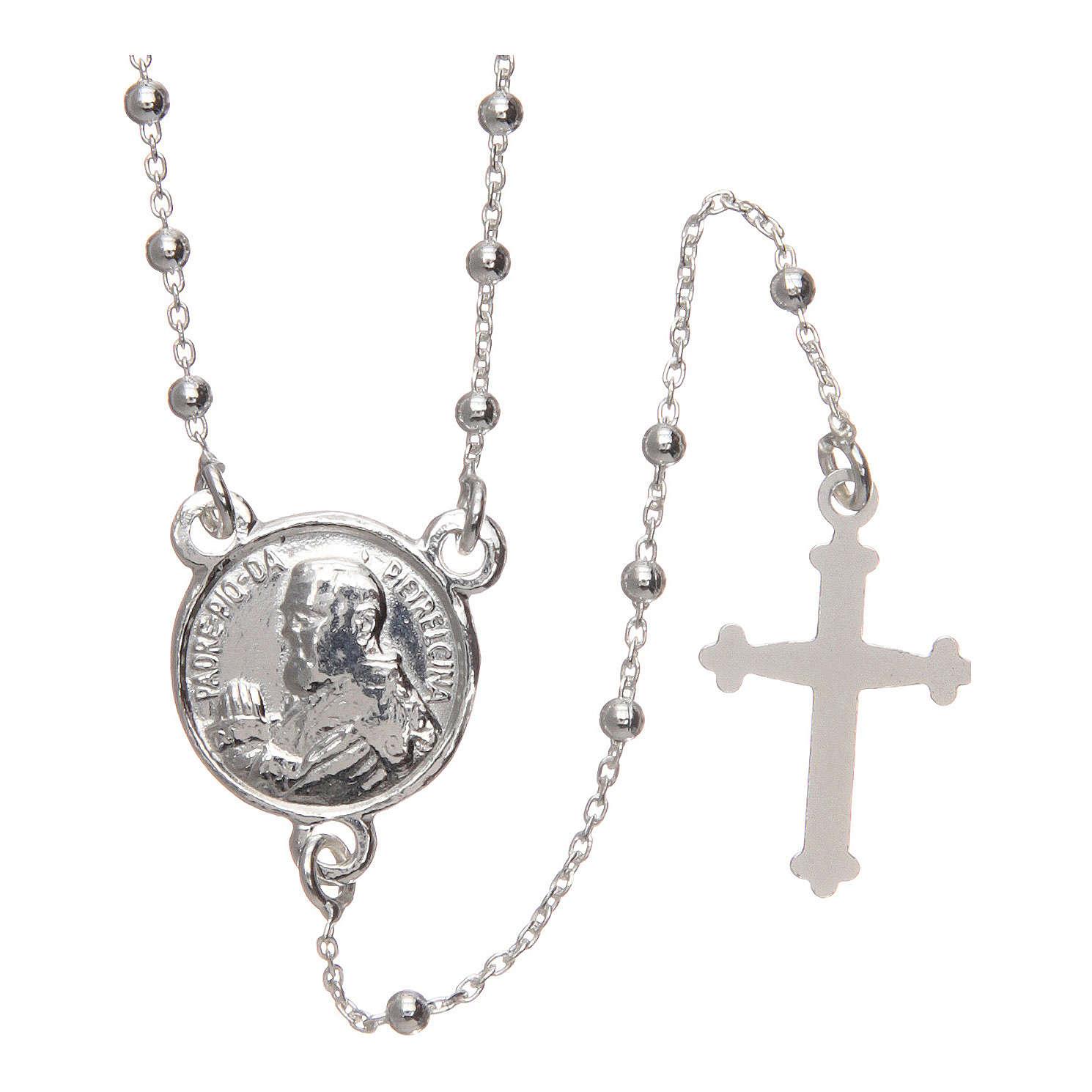 Rosario Padre Pío plata 925 diámetro 1,5 mm 4
