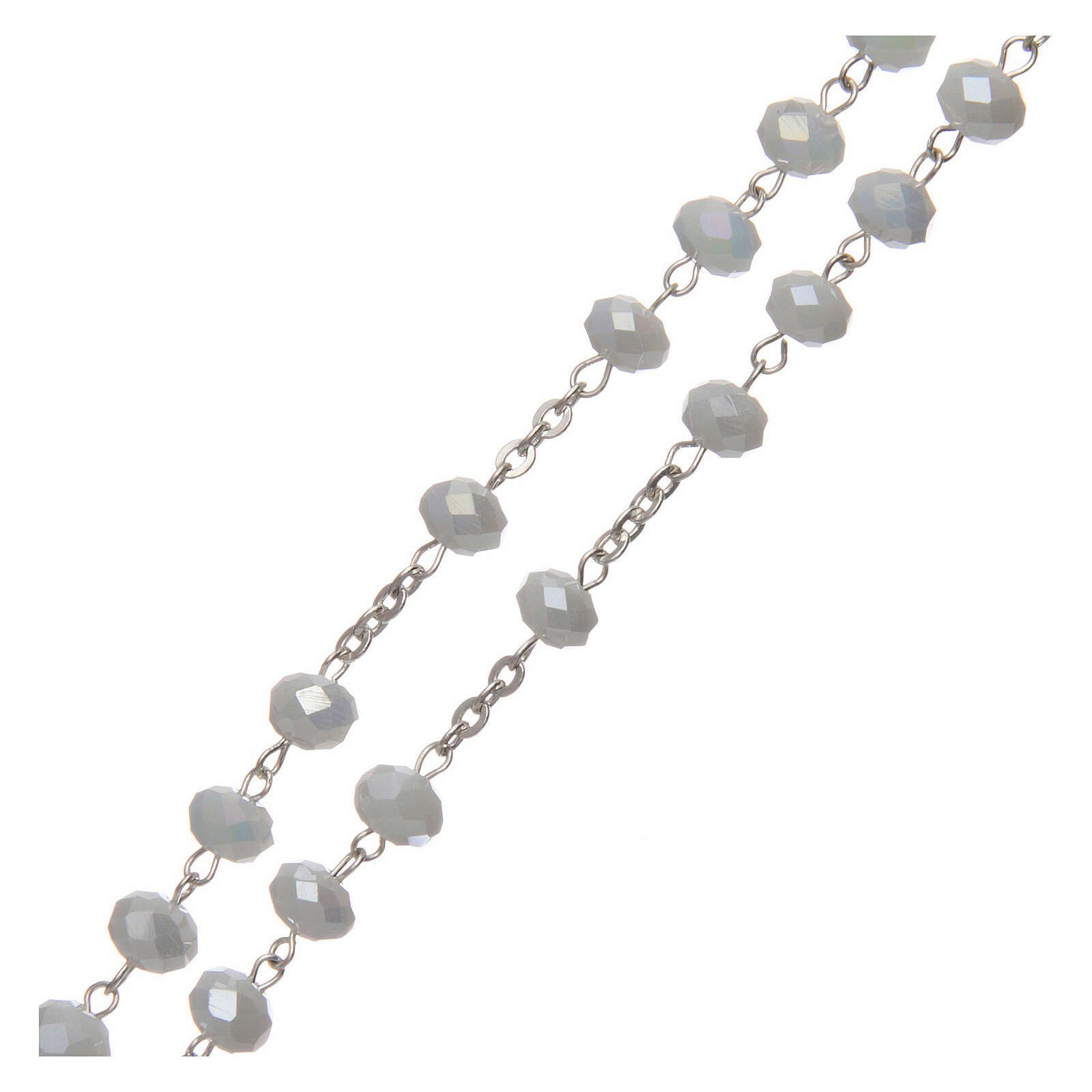 Crystal rosary white matte beads 6 mm 925 silver 4