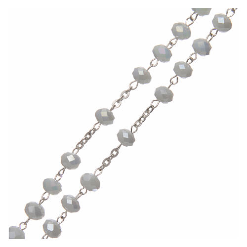 Crystal rosary white matte beads 6 mm 925 silver 3